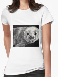 black and white seal on scratchboard Womens Fitted T-Shirt