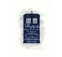 Dr Who - The Optimist quote  Art Print