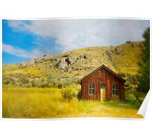 Cabin Against The Hill For Protection Poster
