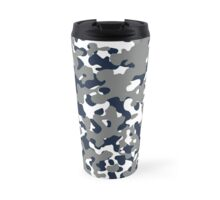 Blue & Gray Camo Design #2 Travel Mug