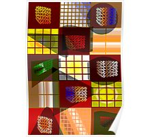Colourfull Grid Cubes Poster