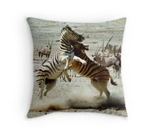 Zebra Fight Throw Pillow