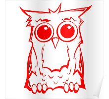 Owl Red White Poster