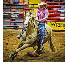 Barrel Racing - Horse and Rider - Fort Worth - Texas Photographic Print