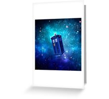 Tardis Blue Space Nebula Greeting Card