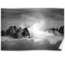 Clouds On The Mountains b&w Poster
