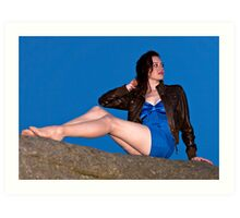 Lizzy in a Blue Dress at Owler Tor Art Print