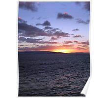 Sunset over Skye and mainland Scotland Poster