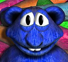 Blue Chalk Monster with Bear Ears by GolemAura