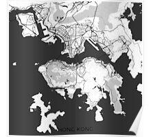 Hong Kong Map Gray Poster