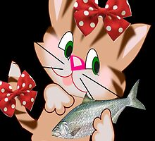 Kitty with Fish T shirt  , Tote bag and pillow (3209 Views) by aldona