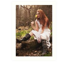 Katie Sat on a Fallen Tree Art Print