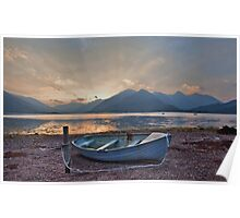 Blue Boat at Loch Duich Poster