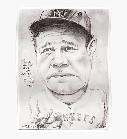 'Babe Ruth' gourmet caricature by Sheik Poster