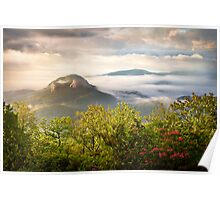 Looking Glass Rock at Sunrise w/ Fog - Blue Ridge Parkway Poster