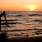 Fisherman on the beach by Willem Hoekstra