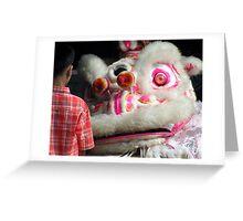 Local Boy and chinese dragon ,Chinese New Year - Sumatra Greeting Card