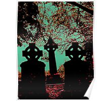 Irish cemetary, Celtic cross - gravestones and headstones, grave marker Poster