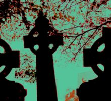 Irish cemetary, Celtic cross - gravestones and headstones, grave marker Sticker