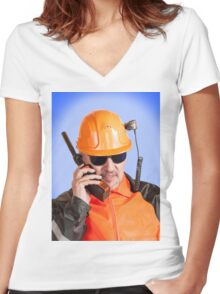 Industrial worker. Women's Fitted V-Neck T-Shirt