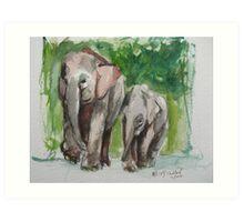 Elephant Mom & Baby Art Print