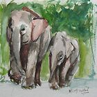 Elephant Mom & Baby by Marcie Wolf-Hubbard