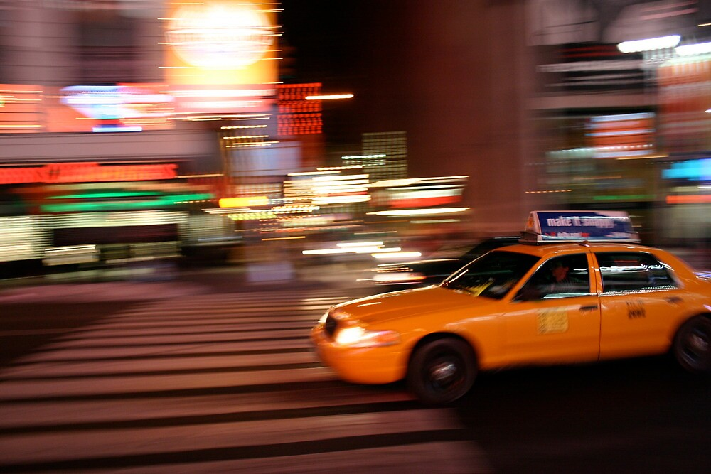 Yellow Taxi in Times Square by RobVincent