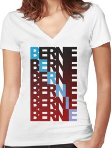 bernie sanders textual burn Women's Fitted V-Neck T-Shirt