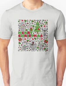 Merry Christmas Robots Unisex T-Shirt