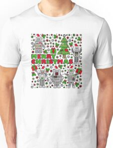 Merry Christmas Robots Unisex T-Shirt