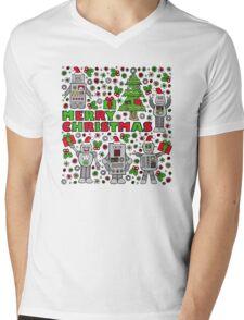 Merry Christmas Robots Mens V-Neck T-Shirt