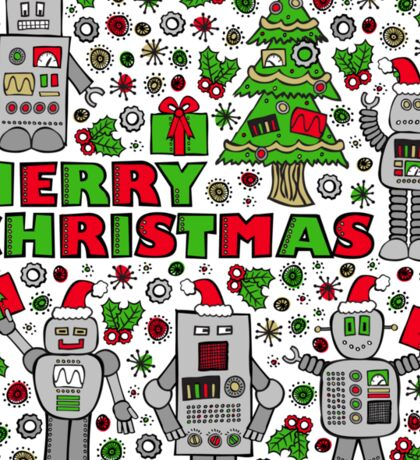 Merry Christmas Robots Sticker