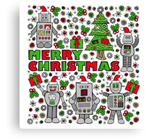 Merry Christmas Robots Canvas Print