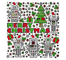 Merry Christmas Robots Photographic Print