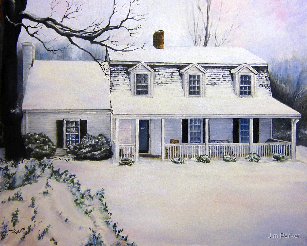 Christmas Snow Scene— House In the Country. by Jim Parker