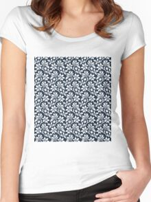 Navy Vintage Wallpaper Style Flower Patterns Women's Fitted Scoop T-Shirt