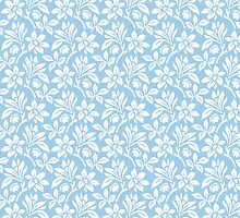Light Blue Vintage Wallpaper Style Flower Patterns by ImageNugget