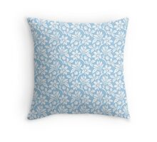Light Blue Vintage Wallpaper Style Flower Patterns Throw Pillow