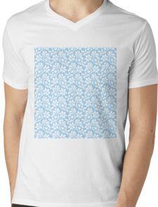 Light Blue Vintage Wallpaper Style Flower Patterns Mens V-Neck T-Shirt