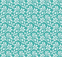 Teal Vintage Wallpaper Style Flower Patterns by ImageNugget