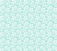 Mint Vintage Wallpaper Style Flower Patterns by ImageNugget