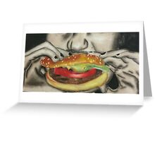 hamburger eating Greeting Card