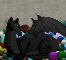 Cat Dragon with Yarn Hoard by shaneisadragon