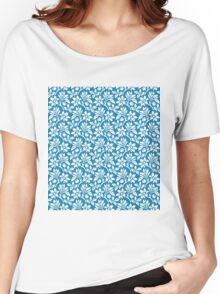 Blue Vintage Wallpaper Style Flower Patterns Women's Relaxed Fit T-Shirt