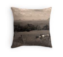 Glass House Mountains (BW Grain) Throw Pillow