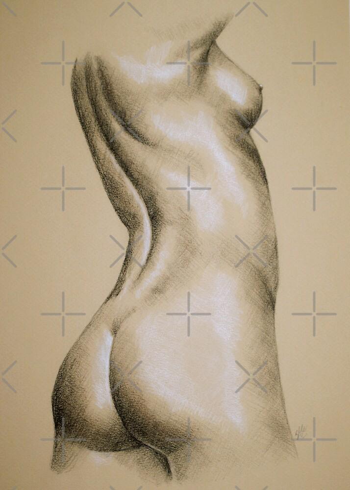 Charcoal Nude Female #5 by Sarah  Mac