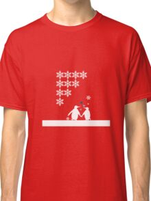 Penguin Couple Red Heart Love Snow Classic T-Shirt
