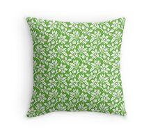 Grass Green Vintage Wallpaper Style Flower Patterns Throw Pillow