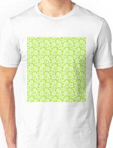 Lime Green Vintage Wallpaper Style Flower Patterns Unisex T-Shirt
