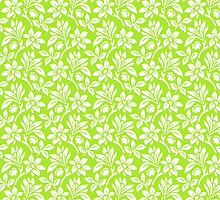 Lime Green Vintage Wallpaper Style Flower Patterns by ImageNugget